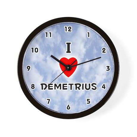 I Love Demetrius (Black) Valentine Wall Clock