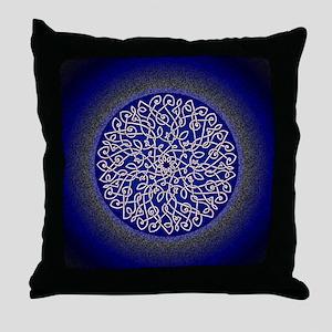 Blue Celtic Art Burst Throw Pillow