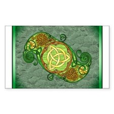 Green Celtic Art Spiral Trinity Knot Sticker