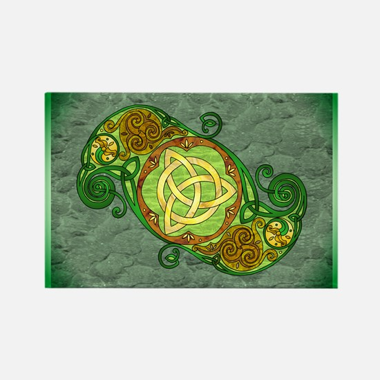 Green Celtic Art Spiral Trinity Knot Magnets