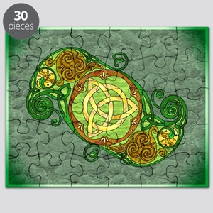 Green Celtic Art Spiral Trinity Knot Puzzle