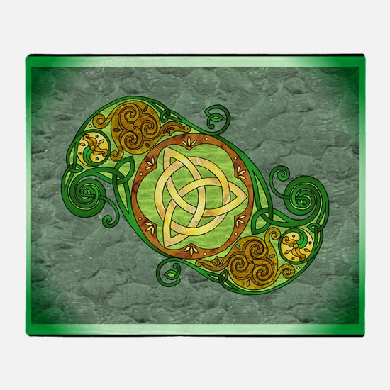 Green Celtic Art Spiral Trinity Knot Throw Blanket