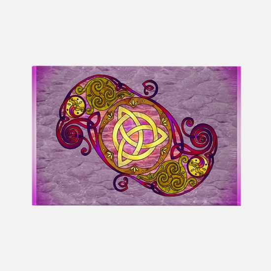 Magenta Celtic Art Spiral Trinity Knot Magnets
