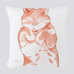 Peaceful Resting Cat - Holiday Woven Throw Pillow
