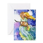 Guardian Angel with Cat Greeting Cards