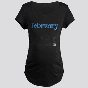 February Baby on Board (blue) Maternity T-Shirt