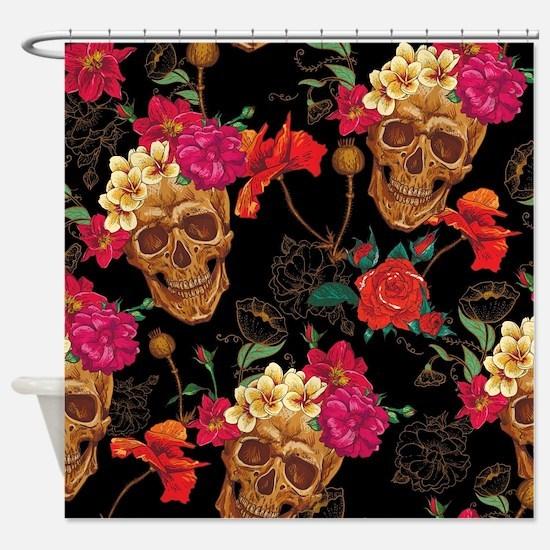 Cute Sugar skull roses Shower Curtain