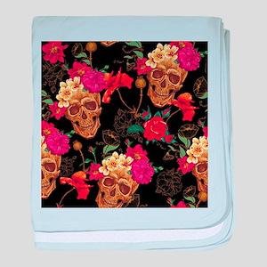 floral Skulls baby blanket