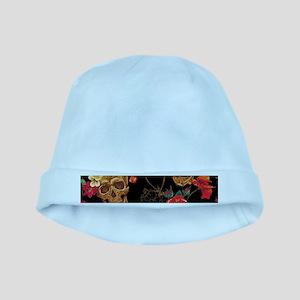 floral Skulls baby hat