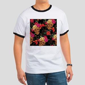 floral Skulls Ringer T