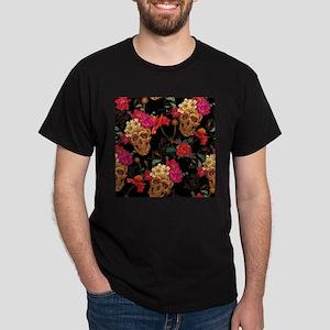 floral Skulls Dark T-Shirt