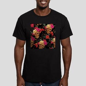 floral Skulls Men's Fitted T-Shirt (dark)