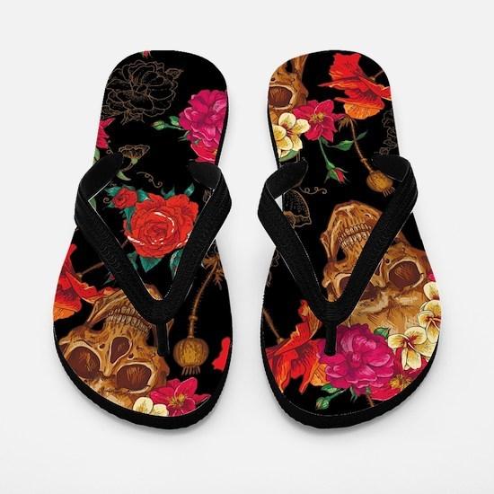 floral Skulls Flip Flops