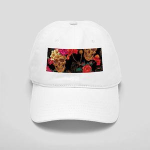 8fa54ef6328 Flowers And Roses Sugar Skull Hats - CafePress