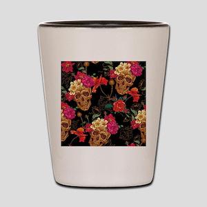 floral Skulls Shot Glass