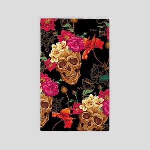 floral Skulls Area Rug