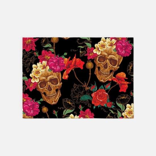 floral Skulls 5'x7'Area Rug