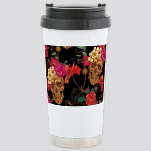 floral Skulls Stainless Steel Travel Mug