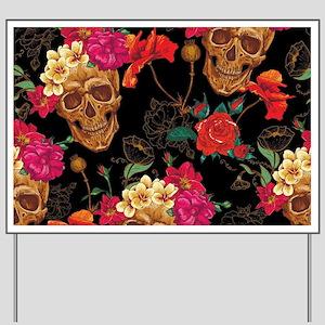 floral Skulls Yard Sign