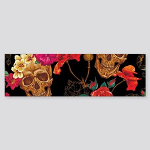floral Skulls Bumper Sticker