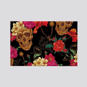 floral Skulls Magnets