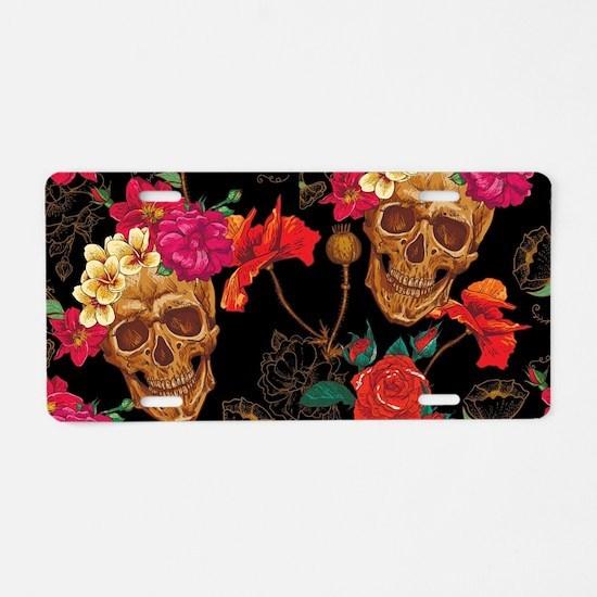 floral Skulls Aluminum License Plate