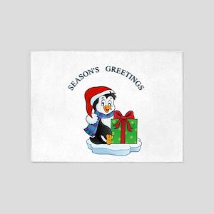 Season Greeting penguin 5'x7'Area Rug