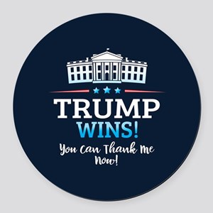 Trump Wins Round Car Magnet