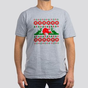 Ugly Christmas deer Men's Fitted T-Shirt (dark)