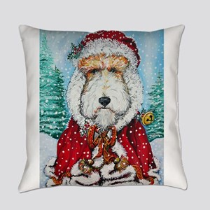 Fox Terrier Santa Everyday Pillow