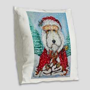 Fox Terrier Santa Burlap Throw Pillow