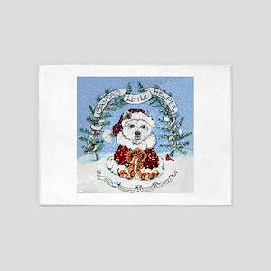Westie Santa Claus 5'x7'Area Rug