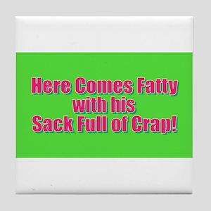 Christmas - Here Comes Fatty Tile Coaster