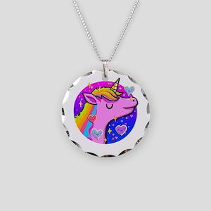 Pretty Pink Unicorn Necklace Circle Charm