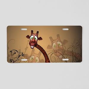 Funny, cute giraffe Aluminum License Plate