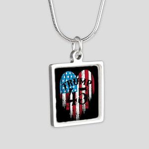 Trump America Silver Square Necklace
