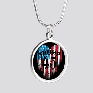 Trump America Silver Round Necklace