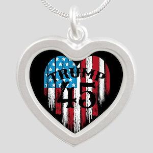 Trump America Silver Heart Necklace