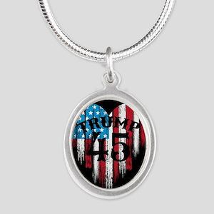 Trump America Silver Oval Necklace