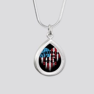Trump America Silver Teardrop Necklace