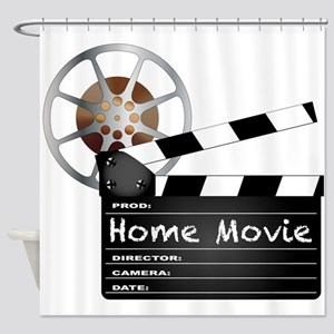 Home Movie Clapperboard and Reel Shower Curtain