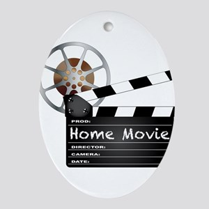 Home Movie Clapperboard and Reel Oval Ornament