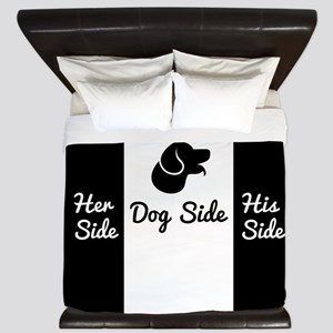 Dog Side vs His/Her Side Bedspread King Duvet