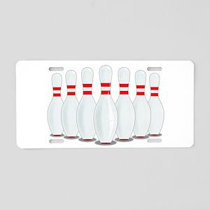 Ten Pins Aluminum License Plate