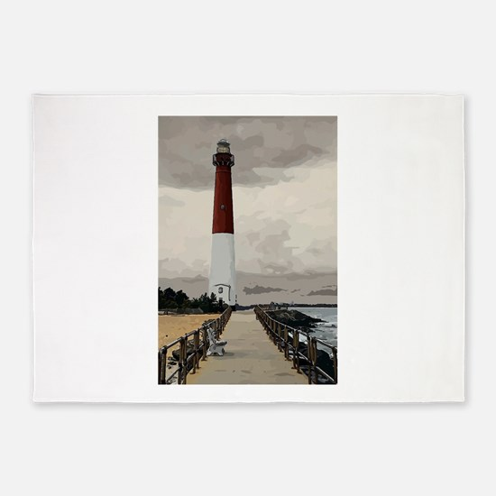 Barnegat Light Lighthouse NJ 5'x7'Area Rug