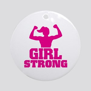 Girl Strong Round Ornament