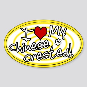 Hypno I Love My Chinese Crested Oval Sticker Ylw