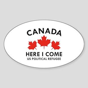 Canada Here I Come Sticker (Oval)