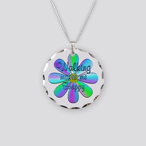Walking Happy Necklace Circle Charm