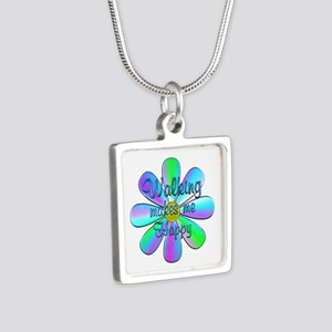 Walking Happy Silver Square Necklace